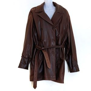 Vintage Coach Double Breasted Leather Trench Coat